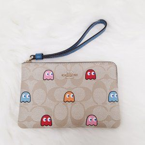 NWT Coach x PacMan ghosts wrislet small purse